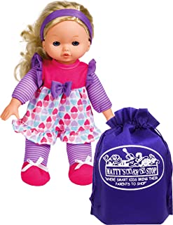 "My Sweet Baby 12"" Soft Baby Doll (Blonde Hair) Gift Set Bundle with Matty's Toy Stop Storage Bag (Styles are Assorted & Ma..."