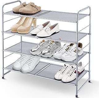 Simple Trending 4-Tier Stackable Shoe Rack, Expandable & Adjustable Shoe Shelf Storage Organizer, Metal Mesh, Silver