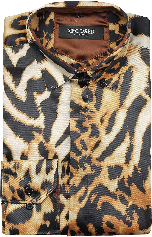 Xposed Camisa de fiesta retro de satén con estampado de animales y estampado de leopardo para hombre