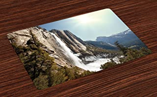 Ambesonne Yosemite Place Mats Set of 4, Yosemite Falls Mountain Sunshine Alpine Trees Dramatic Natural Wilderness Landscape, Washable Fabric Placemats for Dining Room Kitchen Table Decor, Green