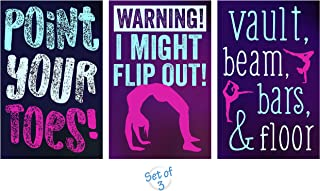 Gymnastics Poster, Set of 3, 11 x 17 Inches, Gymnast Wall Art, Full Color, Set of Posters for Girls Gymnastics