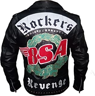 BSA Rockers Revenge George Michael Men's Classic Biker Leather Jacket