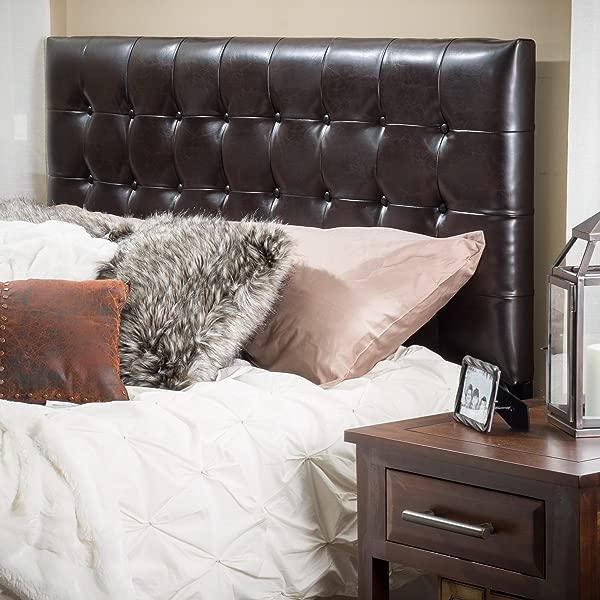 Christopher Knight Home 238899 Bellmont Queen Full Button 簇绒皮革床头板棕色