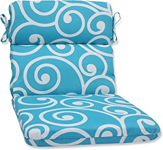Pillow Perfect Outdoor Best Rounded Corners Chair Cushion, Turquoise