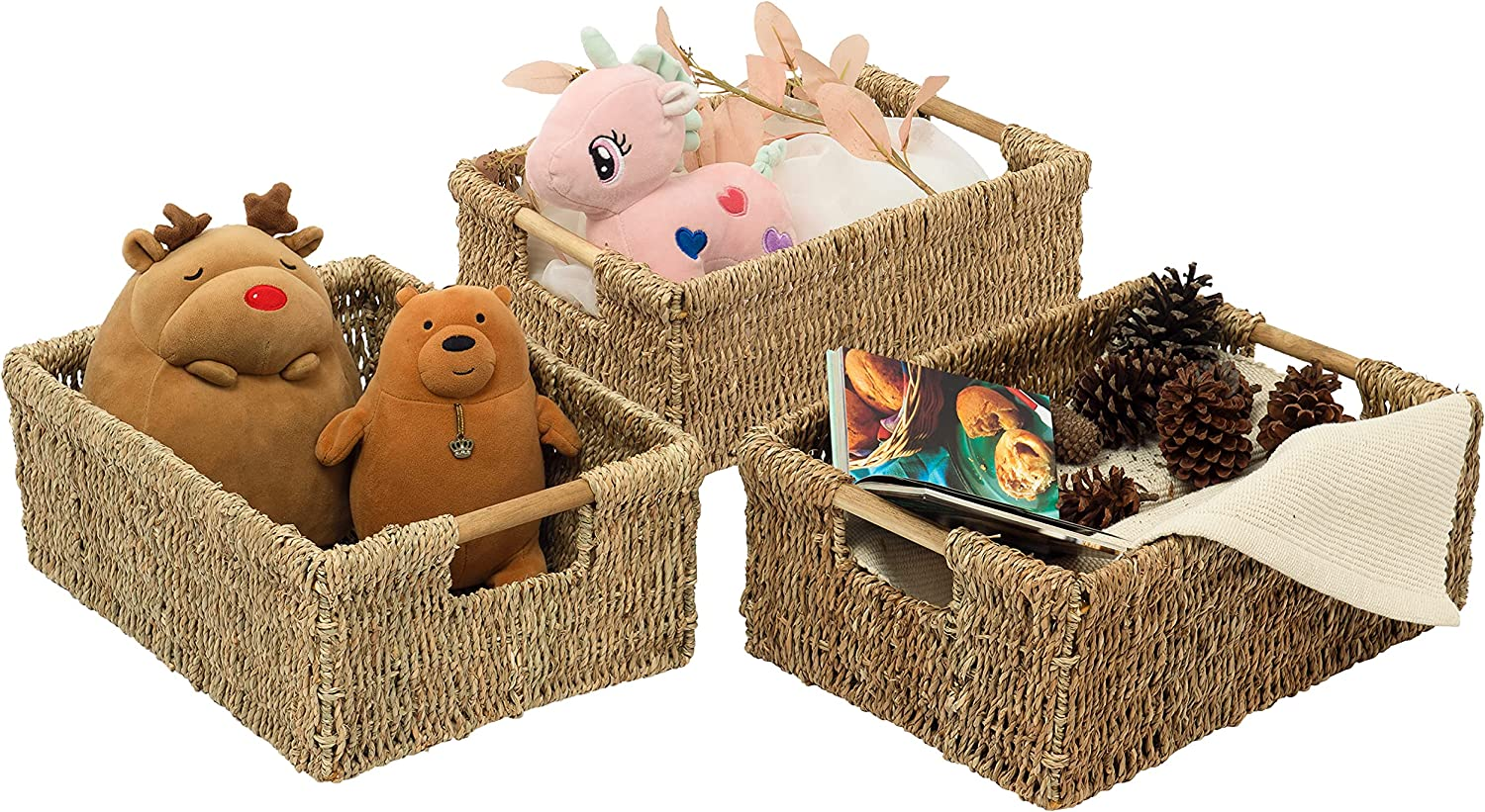 VATIMA Mail order Large Don't miss the campaign Wicker Basket Rectangular Wooden Handles Seag with