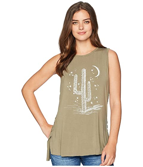 MISS ME Cactus Graphic Tank Top, Sage Green