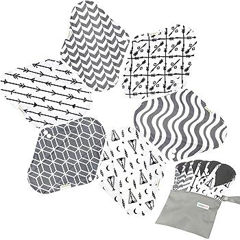 7pcs Set 1 pc Mini Wet Bag +6pcs Absorbent Reusable Sanitary Pads/Washable Bamboo Cloth Menstrual Pads (L,Grey)