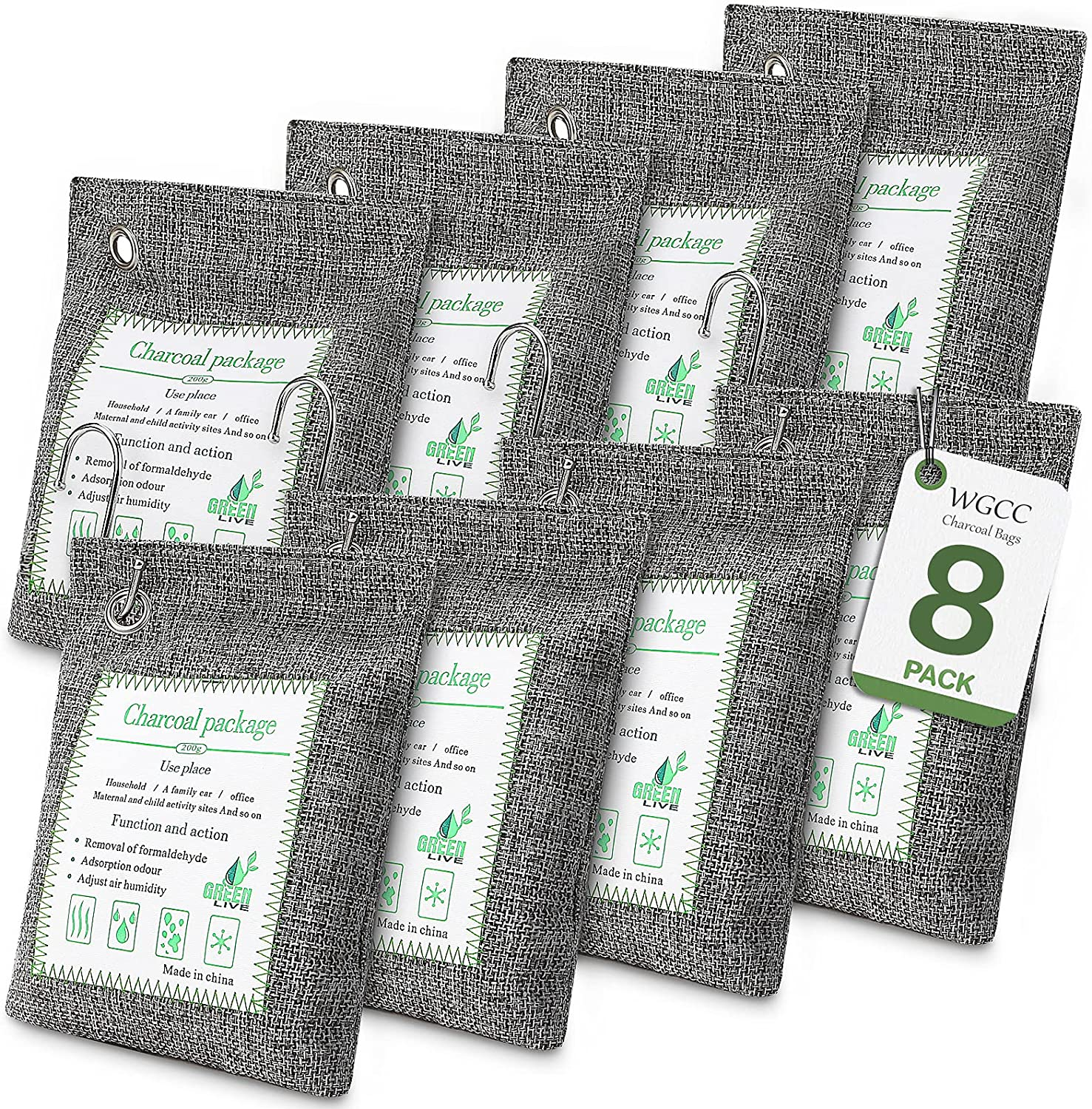 WGCC 8 Pack Activated Bamboo Charcoal New item O Bags Air Purifying 200g Super intense SALE