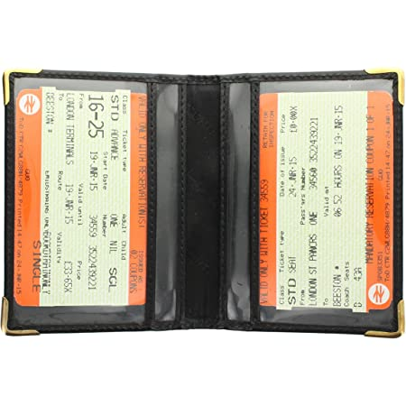 Visconti Leather Oyster Card/Travel Pass Holder with Metal Corner Protectors TC5 Black