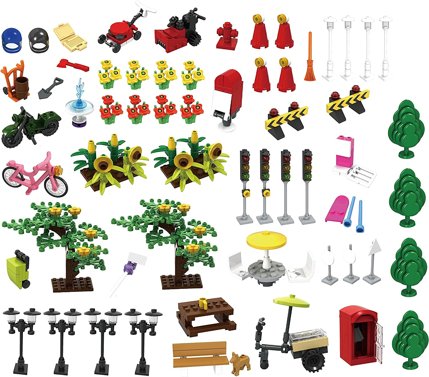 WOMA Classic City Accessories Pack, Street Lamp Traffic Lights House Town Trees (479 PCS)