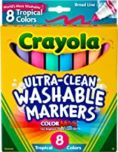 Crayola Washable Markers, Assorted Tropical Colors, 8 Count