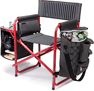 ONIVA - a Picnic Time Brand Fusion Original Design Outdoor Folding Chair, Gray with Red Frame (Renewed)