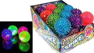 JA-RU توپ لاستیکی سنبله را روشن کنید (بسته 24 عددی با جعبه نمایشگر) و 1 عدد توپ قابل جمع شدن. چراغ های چشمک زن توپ های توپ درمانی خنک و رنگارنگ نرم 2.5 اینچی | مورد