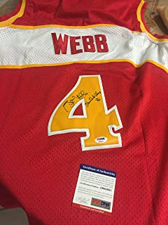 AUTOGRAPHE SPUD WEBB ATLANTA HAWKS JERSEY WITH INSCRIPTION SLAM DUNK CHAMP 86 PSA CERTIFIED FIRST PRIVATE SIGNING