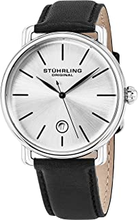Stuhrling Original Ascot Mens Black Watch - Swiss Quartz Analog Date Wrist Watch for Men - Stainless Steel Mens Designer Watch 768