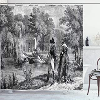 Ambesonne Vintage Shower Curtain, Historical French Revolution Sketch with Napoleon and Woman in Garden Artwork, Cloth Fabric Bathroom Decor Set with Hooks, 70