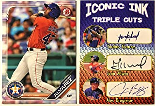 Houston Astros Yordan Alvarez Bowman Rookie Baseball Card AND Iconic Ink Alvarez, Jose Altuve & Alex Bregman Facsimile Autograph Baseball Card