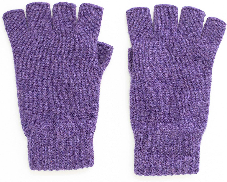 Graham Cashmere Women's Unisex Cashmere Fingerless Gloves Gift Boxed (One Size, Purple)