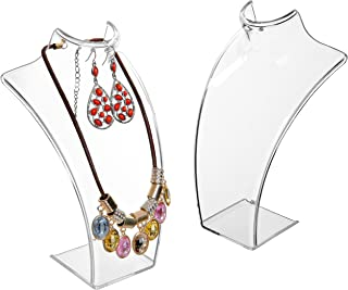 MyGift 8-Inch Clear Acrylic Necklace & Earring Jewelry 3D Bust Display Stand, Set of 2