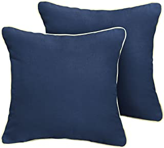Mozaic Company Sunbrella Indoor/ Outdoor Corded Pillows, Canvas Navy and Canvas Natural, Set of 2