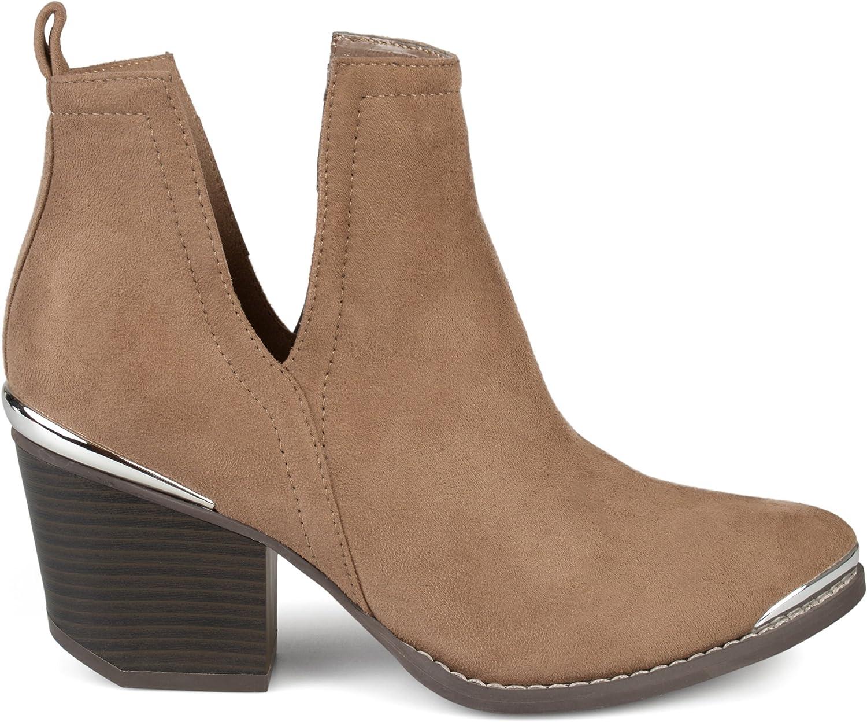 Brinley Co. Womens Faux Suede Stacked Detail Regular store Wood Metal Special price Heel Sid