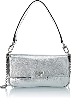 Guess Womens Mini Me Mini Flap Fashion Shoulder Bag, Color Silver