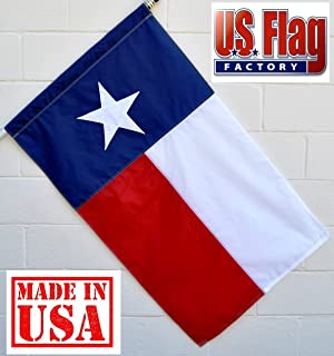 US Flag Factory - 2.5x4 FT Texas State Flag (Pole Sleeve) (Appliqued Star, Sewn Stripes) Outdoor SolarMax Nylon - Premium Quality - Made in America (2.5x4 FT (Pole Sleeve))
