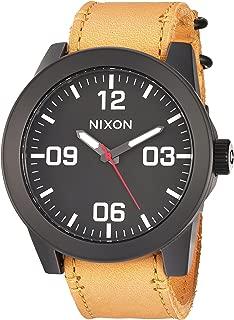 Nixon Men's 'Corporal' Quartz Metal and Leather Watch, Color:Orange (Model: A2432448-00)