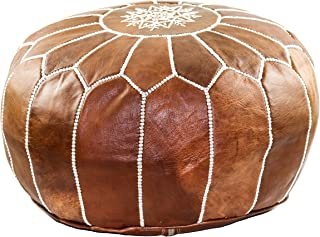 GRAN Handmade Leather Moroccan Pouf Footstool Ottoman   Brown Genuine Leather with Hand Embroidered White Stitching   Unstuffed