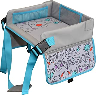 Kids Travel Tray by LillyCrafted-Premium Quality Toddler Car Seat Tray & Lap Table-with Touchscreen Phone & Tablet Holders-Toddler Activity Play & Snack Stroller Organizer-Perfect Travel Accessories