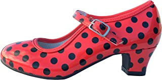 La Señorita Zapato Flamenco Baile Sevillanas niña o Mujer Rojo Negro (Talla 38-23 cm)