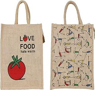 "SBV Yoga Design & Tomato Design Tote Bag ǀ Jute Bag ǀ Hand bag ǀ Lunch Bag ǀ Multipurpose Bag ǀ Eco-friendly and Resuable Bag - Combo of 2 {Both Same Size- 12""X14""x5""}"