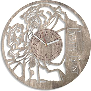 NadezhdaShop Wooden Wall Clock for Kids Disney Cartoon Beauty and The Beast Wall Decals for Living Room Decorations Beauty and The Beast Wooden Clock Beauty and The Beast Wall Clock (Gray)