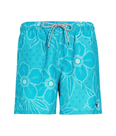 Ted Baker Link Linear Floral Swim Shorts (Teal/Blue) Men