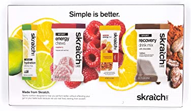 SKRATCH LABS Sample Pack, Sport Hydration Drink Mix, Sport Energy Chews, Sport Recovery Drink Mix, Anytime Energy Bar, Nat...