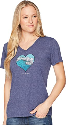 Ocean Heart Wave Cool Vee Tee