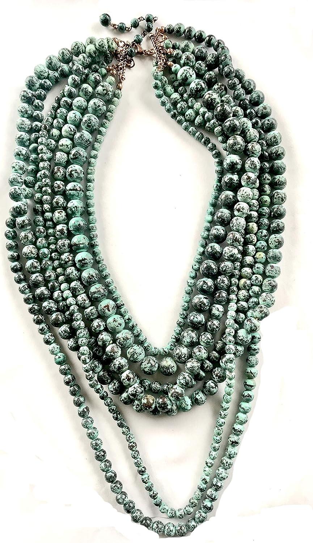 Uniklook Women Jewelry Multi Layered Beads Statement Chunky Necklace Drop Beaded Earrings Set Fashion Jewelry