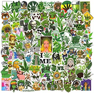 Cool Weed Stickers 100pcs, Waterproof Marijuana Stickers for Adults Vinyl Laptop Stickers Decals for iPad, Water Bottles, Phone Case, Skateboard, Car Bumper, PS4, Xbox