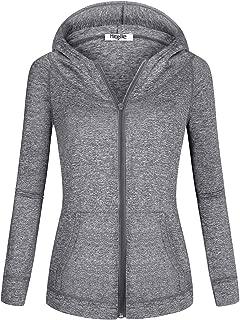Women's Long Sleeve Zip-up Thin Sports Hoodie Sweatshirts with Pockets