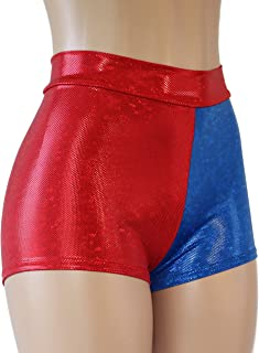 HIGH Waist Holographic Prism Red and Blue Spandex Booty Shorts