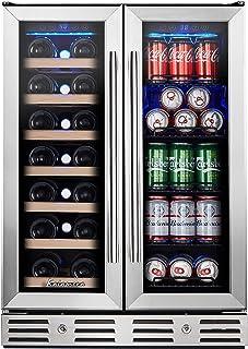 Kalamera 24'' Beverage and Wine Cooler Dual Zone Built-in and Freestanding with Stainless Steel Door - Beer, Wine, Soda An...