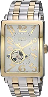 Gevril Avenue of Americas Intravedere Mens Open Heart Swiss Automatic Rectangle Two Tone Stainless Steel Bracelet Watch, (Model: 5073B)