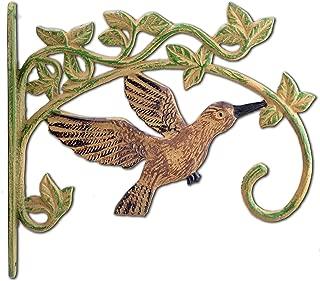 Cast Iron Plant Hanger Flower Basket Hook Antiqued Brown Flying Hummingbird 11.25