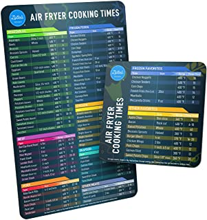 Air Fryer Magnetic Cheat Sheet Set, Air Fryer Accessories Cook Times, Airfryer Accessory Magnet Sheet Quick Reference Guid...