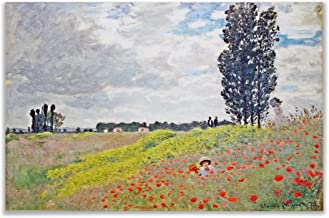 Monet Wall Art Collection Walk in The Meadows at Argenteuil, 1873 by Claude Monet Canvas Prints Wrapped Gallery Wall Art | Stretched and Framed Ready to Hang 8X12,