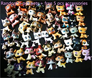 LPSTREE Random 5 PCS LPS Cat Dog Toy Collection LPS Cocker Spaniel and Collie and Great Dane and Shorthair Cat and Dachshund Figure Boys Girls Kids Christmas Gift Set