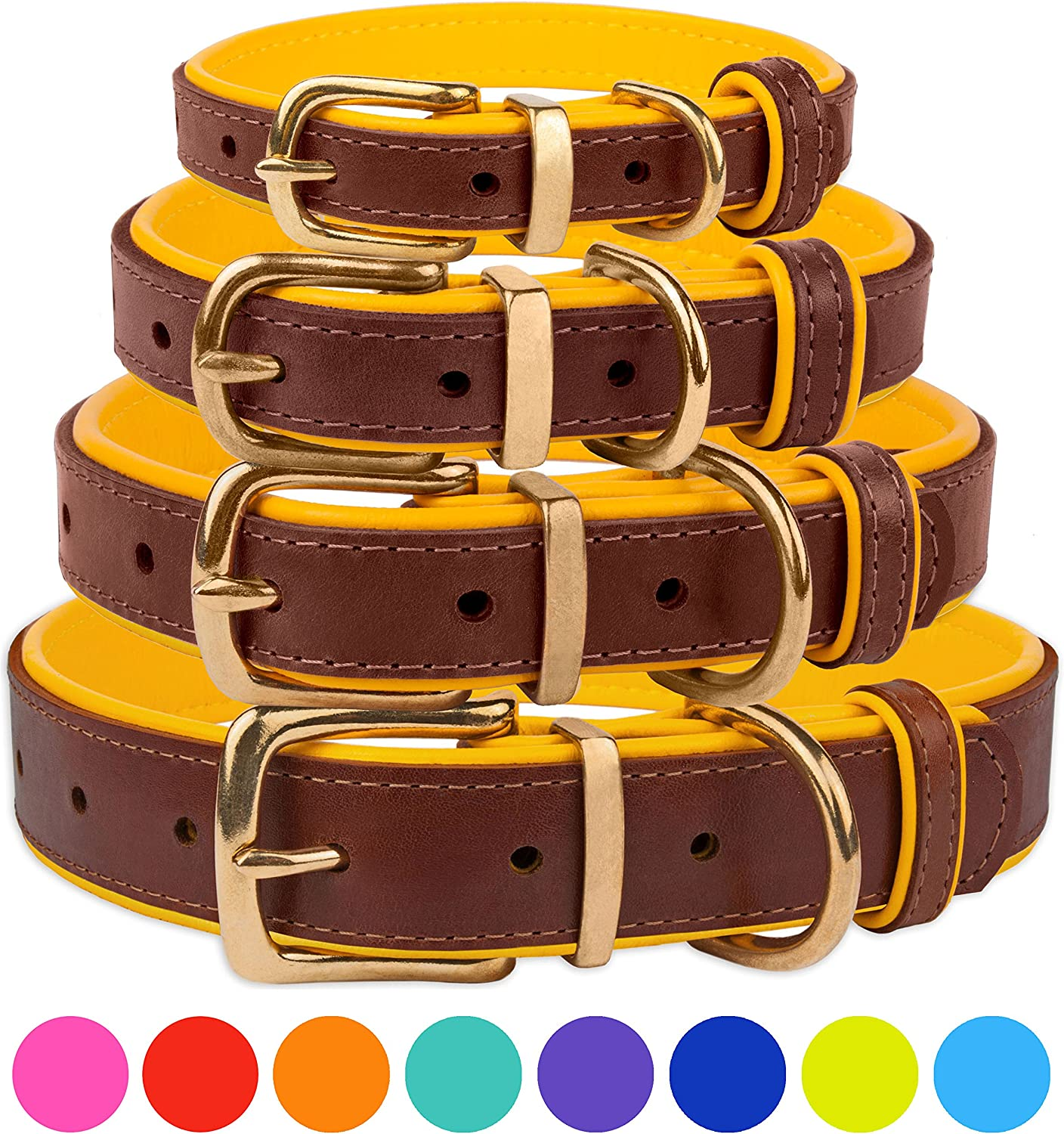 CollarDirect Leather Dog Collar Brass Buckle Soft Padded Puppy Small Medium Large Red Pink bluee Green Purple Yellow (Neck Fit 19 21 , Yellow)