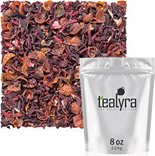 Tealyra - Hibiscus and Rosehips - Herbla Loose Leaf Tea - Health Tonic - Natural Weight Loss - Supports Healthy Blood Pressure - Caffeine-Free - Vitamins Rich - All Natural - 224g (8-ounce)