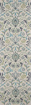 """Momeni Rugs Newport Collection, 100% Wool Hand Tufted Loop Cut Contemporary Area Rug, 2'3"""" x 8'3"""" Runner, Blue"""