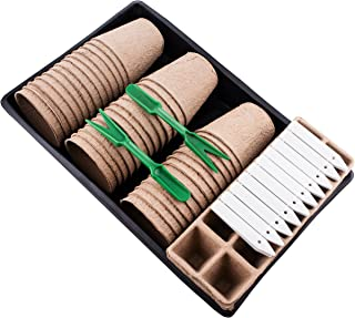 Plant Starter Kit   Everything You Need   Peat Pots, Peat Seed Starter Trays, PVC Plant Growing Trays, Gardening Tools & More!   Perfect Plant Cultivation Set for Gardeners or Classrooms